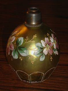 VERY UNUSUAL EXQUISITE ANTIQUE FACETED FLORAL ENAMELLED PERFUME BOTTLE