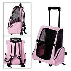 Tenive Dog Cat Pet Carrier Traveler Rolling Backpack w/WheelsPink