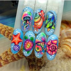 Nail Art Hacks, Gel Nail Art, Nail Art Diy, Diy Art, Summer Toe Nails, Summer Acrylic Nails, Summer Nails Almond, Beach Nail Designs, Nail Art Designs