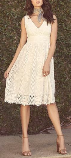 Best of New: Charmed Ivory Lace Midi Dress
