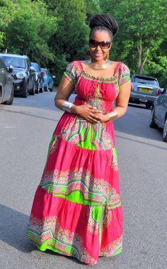 Afro Bohemian Gypsy Maxi dress in a Fuscia by HouseofAfrika