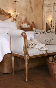 French Inspired bedroom.... Love the wall finish