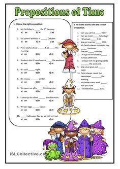 A worksheet to practise the prepositions of time. Grammar: Prepositions, Prepositions of time Teaching English Grammar, English Worksheets For Kids, 1st Grade Worksheets, English Activities, Grammar Lessons, Kindergarten Worksheets, Kids English, English Lessons, Learn English