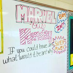 MARVEL-ous Monday!! #iteachtoo #iteach7th #teachersfollowteachers #teachersofinstagram #miss5thswhiteboard