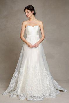 jenny yoo   2015 bridal collection   wedding dress   bride   gown   detachable skirt   london skirt   lace applique   fluer   satin belt