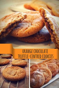 orange chocolate truffle-centred cookies - easy & delicious! The hidden truffle filling is a lovely surprise :-) #recipe #baking