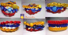 Pulseras tripticas elaboradas en macrame, en hilo guajiro con los colores de la bandera Colombiana Types Of Knots, Macrame Bracelets, Crochet Necklace, Jewelry Making, Handmade, Crafts, Diy, Bracelets With Meaning, Paracord Bracelets