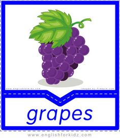 Grapes - English flashcards for the fruits and vegetables topic English Activities For Kids, Math For Kids, Free Preschool, Preschool Activities, Food Flashcards, Name Of Vegetables, Kids Math Worksheets, Children With Autism, Student Learning
