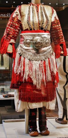 Traditional bridal/festive costume from Macedonia, early 20th century.  Ethnic group: Mijak.  (British Museum, London).