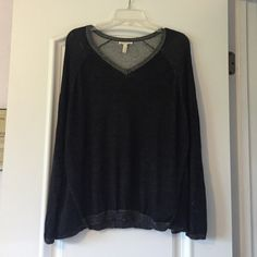 Eileen Fisher organic cotton V neck sweater Organic cotton and tencel knit V neck sweater. SOOO soft! Charcoal black with grainy gray trim. Oversized boxy fit. Eileen Fisher Sweaters