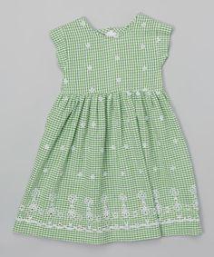 Another great find on #zulily! Green Gingham Cap-Sleeve Dress - Toddler & Girls #zulilyfinds