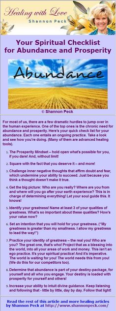 Your Spiritual Checklist for Abundance and Prosperity Spiritual Healer, Spirituality, Past Life Regression, Spirit World, Life Purpose, Helping People, Abundance, Destiny, Awakening