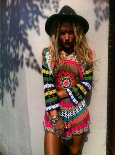 Hippie Style bright, colorful, funky, perfect, crocheted dress by Rat and Boa ♥… Gypsy Style, Bohemian Style, Boho Chic, My Style, Bohemian Summer, Boho Hippie, Boho Gypsy, Rat And Boa, Estilo Hippy