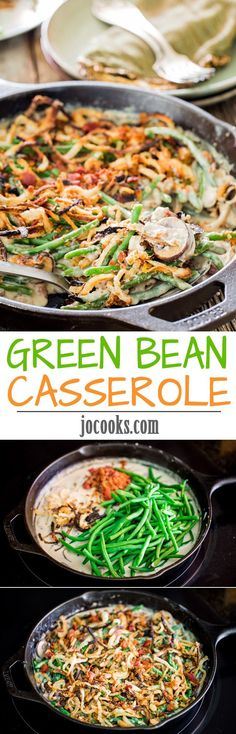 Green Bean Casserole from scratch - this delicious green bean side dish is a must have on your Thanksgiving table. No canned stuff here, only fresh ingredients.