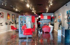 modern red salon design