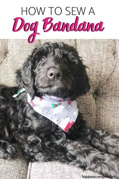Want to make a cute bandana for your beloved pet dog? This easy to follow sewing tutorial will have you making multiple Dog Bandanas all weekend long! How To Sew A Dog Bandana in just minutes.   #DogBandanaTutorial #HowToSewABandana