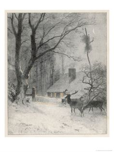In the Cold Weather the Wild Deer Come Closer to the House Giclee Print by Carl Frederic Aagaard at AllPosters.com