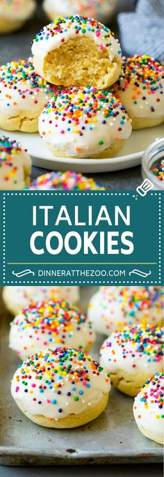 These Italian cookies are soft, almond flavored cookies topped with icing and colorful sprinkles. A classic dessert that's perfect for the holidays or any other special event. Italian Cookie Recipes, Italian Cookies, Best Cookie Recipes, Baking Recipes, Easy Recipes, Chocolate Chip Shortbread Cookies, Toffee Cookies, Köstliche Desserts, Delicious Desserts