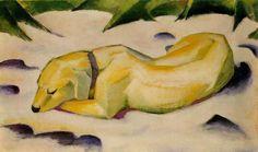 Franz Marc; Cane sdraiato nella neve; 1910–1911; olio su tela; Francoforte, Städel.
