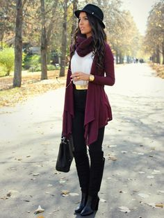 """♥ this look on whatiwear.com by STYLE AND BLOG """"BURGUNDY FOR FALL"""" http://www.whatiwear.com/look/detail/137823"""