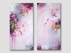 2 parts Original abstract painting, modern art, acrylic paintings, raspberry…