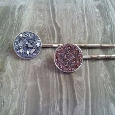 CRUSHED Galena/Garnet Druzy Crystal Bobby Pins