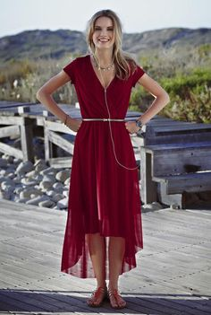 d846d9469d Long Tall Sally Women s Hi Lo Mesh Dress Size 12 Burgundy Rioja Dark Red  LTS for sale online