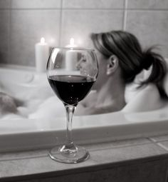 My guilty pleasure: hot, eco-unfriendly bubble bath. Preferably with a glass of bubbly ... but Pinot will do.
