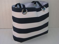 XL Nautical Beach Bag Navy and White Stripes Extra Large Tote Bag Vacation Bag Overnight Bag Modern Tote Bag