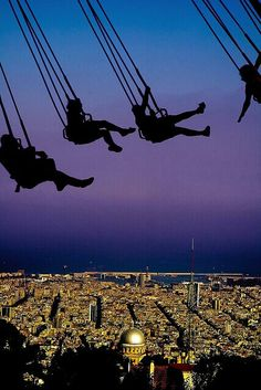 silhouett, mountain, swings, barcelonaspain, amusement parks, travel, lets go, barcelona spain, bucket lists