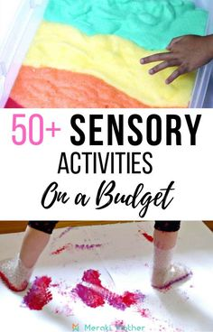 Help your kids in developing their senses with these fantastic affordable sensory play activities. Find great ideas for toddlers, pre-schoolers and more, all without spending a fortune! Sensory Activities For Preschoolers, Tactile Activities, Sensory Games, Senses Activities, Indoor Activities For Toddlers, Sensory Bins, Kindergarten Activities, Sensory Play, Infant Activities