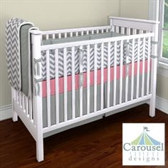 Chevron grey and coral bedding: Nursery Designer by Carousel Designs - Design Your Own Baby Bedding