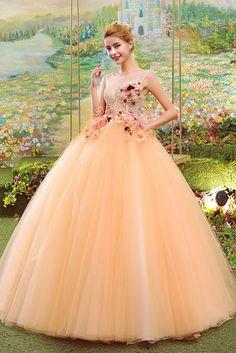 Dathybridal イリュージョン ボールガウン #オレンジ ノースリーブ チュール レースアップ フロアー丈 #カラードレス 二次会ドレス Cfz0020 Cotillion Dresses, Cinderella Dresses, Dressy Dresses, Nice Dresses, Robes Quinceanera, Fairytale Dress, Colored Wedding Dresses, Tulle Dress, Beautiful Gowns