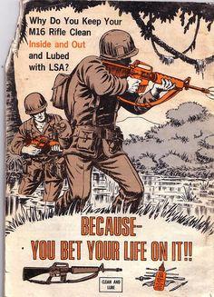 sevensheaven: US Army Preventive Maintenance Manual for the Rifle. Vietnam History, Vietnam War Photos, Weapons Guns, Guns And Ammo, Military Art, Military History, Gi Joe, M16 Rifle, Preventive Maintenance