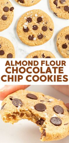Soft and chewy almond flour cookie with chocolate chips and flaky sea salt. Vegan, gluten-free, grain-free and oil-free. Vegan Baking Recipes, Delicious Vegan Recipes, Healthy Dessert Recipes, Vegan Snacks, Gluten Free Desserts, Dairy Free Recipes, Vegan Desserts, Cookie Recipes, Chocolate Chips