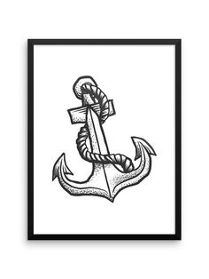 Anchor Print | Instant Download | 18x24 Printable Wall Art | Tattoo Style Art | Sailing | Gifts for Him | Minimalist Poster | Sailor | Navy