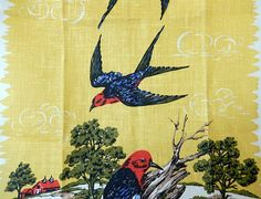 vintage tea towel birds kitchen towel Parisian Prints by brixiana
