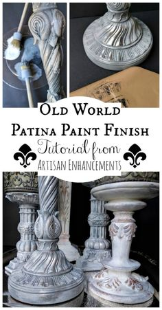 How to create an Old World Patina Paint Finish with Artisan Enhancements Leaf & Foil Size and Crackle Tex! How to create an Old World Patina Paint Finish with Artisan Enhancements Leaf & Foil Size and Crackle Tex! Patina Paint, Paint Stain, Paint Finishes, Paint Furniture, Furniture Projects, Furniture Makeover, Furniture Design, Lamp Makeover, Crackle Painting