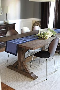 big, warm wood farm table can me made of a light guage metal