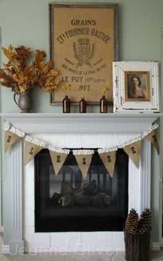 Jeanne Oliver's lovely fall fireplace.