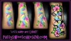 arm design face painting PattySweetCakes LOVE name with flowers rainbow