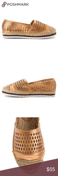 Boho Modern Laser Cut Espadrille 👠 Brand: Boutique  ❌ NO TRADES EVER  🎁 New in Box  🌟 True to Size  Geometric cutouts create an airy feel and style in this stylish Espadrille. Available in two colors Gold & Black. Rose Gold size available 6 Black 5.5 Vegan leather upper Synthetic outsole Vegan leather lining Woven fiber footbed Woven fiber-wrapped. Boutique Shoes Espadrilles