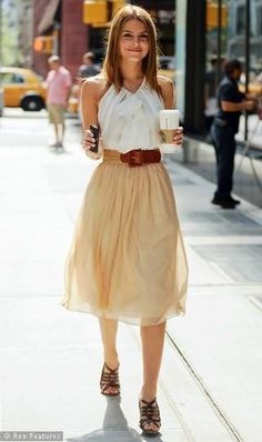 White shirt, wooven belt, nude colored skirt