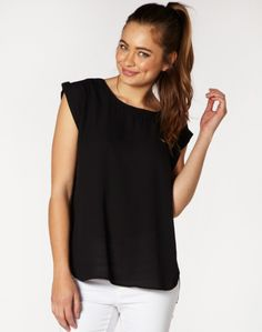 Black Rolled Sleeve Blouse Front 30nzd