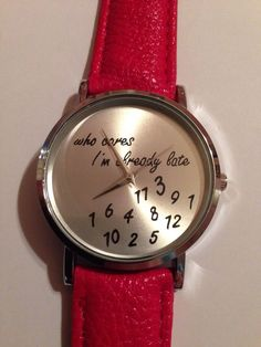"New ""WHO CARES I'M ALREADY LATE"" Red/Silver Watch #Fashion"