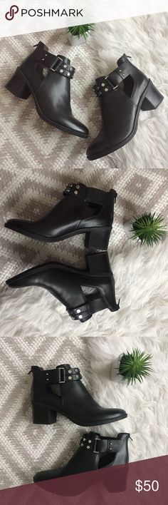 Bar lll Wiley Studded Moto Boots Bar lll Black Wiley Boots  Moto style. Studded ankle strap. 2 inch heel. Cut out design. No flaws! Like new! Size 10 Bar III Shoes Combat & Moto Boots