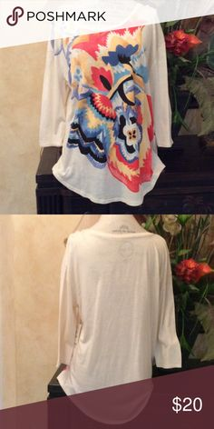 Lucky brand women's multi-colored flowered print Women's  3/4 sleeve cream pull over top watercolor abstract floral print on front , size large, Slouchy fit, brand new with tags attached. Top says large but it runs little big. Lucky Brand Tops Tees - Long Sleeve