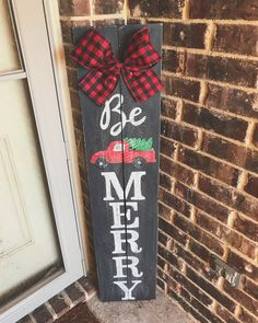 Be Merry Porch Sign with Red Truck Christmas Porch, Outdoor Christmas Decorations, Christmas Signs, Rustic Christmas, Christmas Projects, Holiday Crafts, Christmas Time, Christmas Ornaments, Holiday Decor