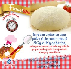 Usa polvo para hornear (royal) 30g. por 1kg. de harina. No lo pongas en exceso para evitar un producto amarillo y amargo.
