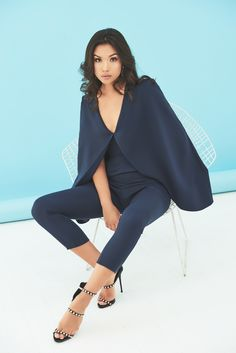 Deep Plunge Cape Jumpsuit in Navy Cape Jumpsuit, Bell Sleeve Top, Romance, Deep, Navy, Cotton, Collection, Tops, Women